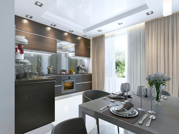 Kuchnia współczesna w kolorze brązowym z białymi ścianami i marmurowymi podłogami. renderowania 3d.