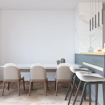 Kuchnia z krzesłami i stołem