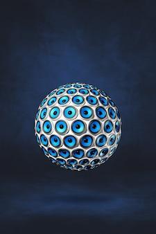 Kula głośników na białym tle na ciemnym niebieskim tle studio. ilustracja 3d