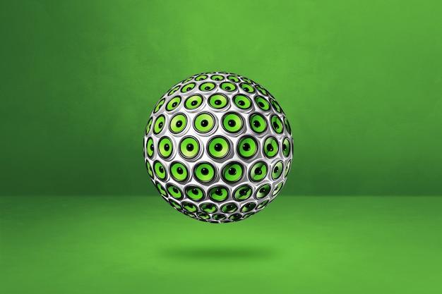 Kula głośników na białym tle na zielonej ścianie. ilustracja 3d