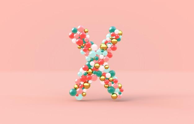 Kule słodkich cukierków litera x