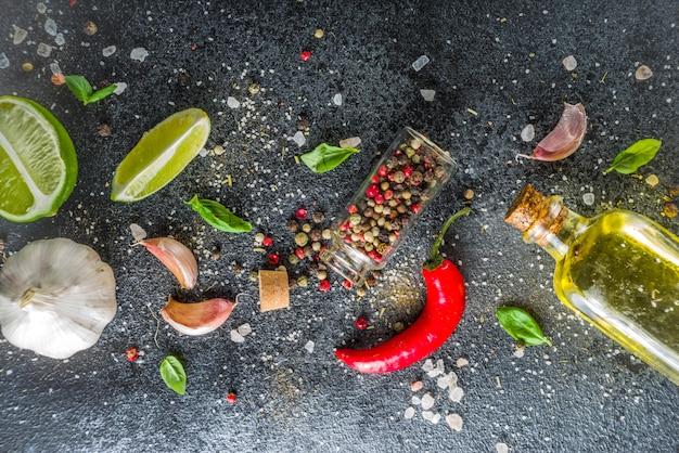 Kulinarny kamienia betonu tło z pikantność