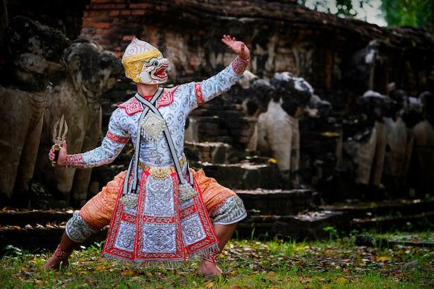 Kultura sztuki tajlandia taniec w zamaskowanym khon w literaturze ramayana