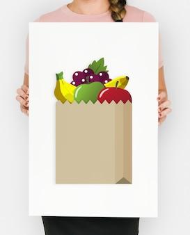 Kup świeżą żywność marketplace supermarket zakupy graficzne