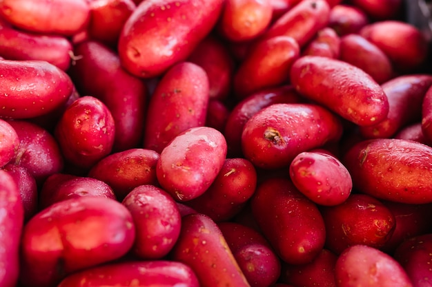 Kupa świeżych ekologicznych czerwonych ziemniaków