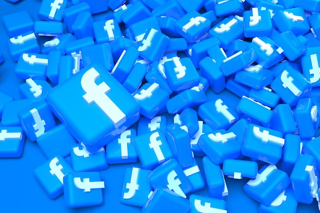 Kupie facebook logo renderingu 3d