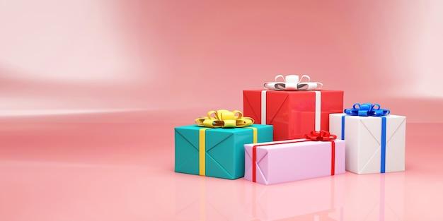 Kupie pudełka na różowym tle studio
