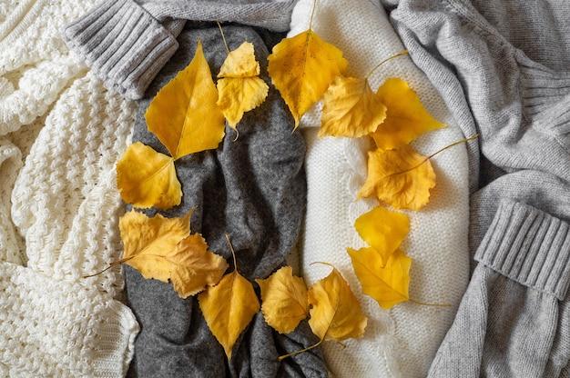 Kupie ubrania z dzianiny z jesiennych liści, koncepcja jesień zima.
