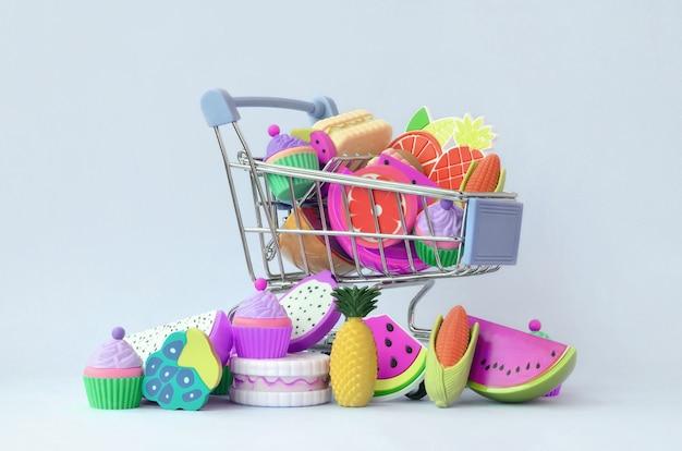 Kupowanie dietetycznej żywności i owoców przez internet. wózek sklepowy