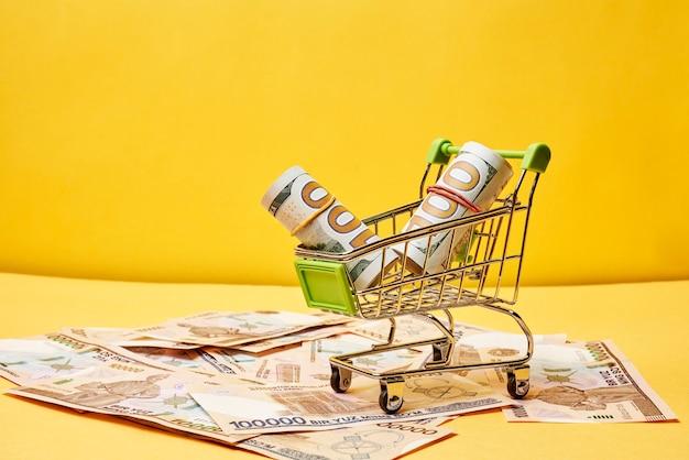 Kupowanie dolarów w uzbekistanie dolarów w wózku na zakupy i uzbeckich pieniędzy