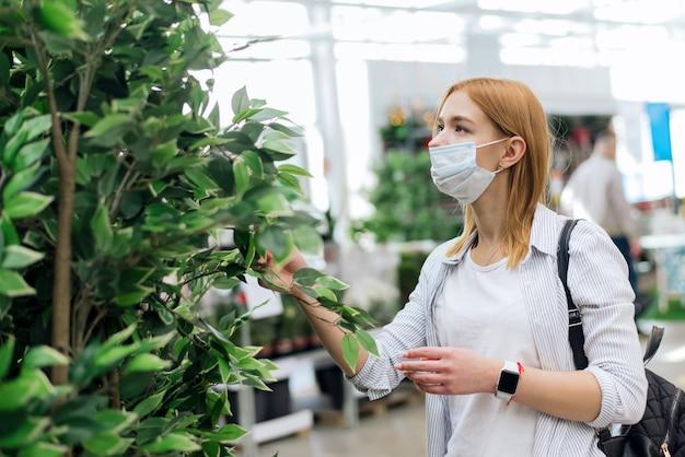 Kupowanie roślin domowych. wybór drzew do ogrodu. młoda kobieta wybiera duże rośliny liściaste