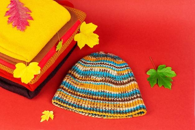 Kupuj ubrania damskie, ciepłe jesienne ubrania i czapkę z kolorowymi jesiennymi liśćmi klonu