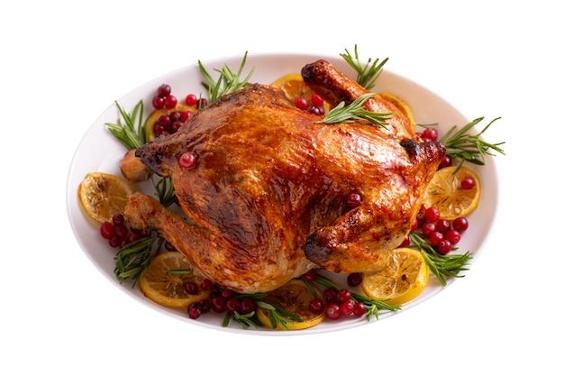 Kurczak dziękczynienia na białym tle