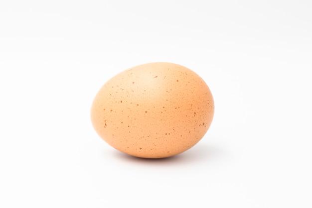 Kurczaka jajko odizolowywający na biel ścianie