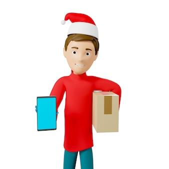 Kurier w czerwonej świątecznej koszulce i czapce trzyma kartonik i smartfon. koncepcja usługi dostawy online. ilustracja 3d.