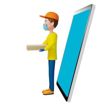 Kurier w masce w t-shircie i czapce trzyma kartonowe pudełko po pizzy i smartfon. odosobniony. ilustracja 3d.