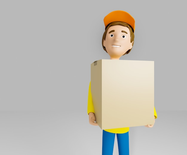 Kurier w żółtej koszulce i czapce trzyma kartonik