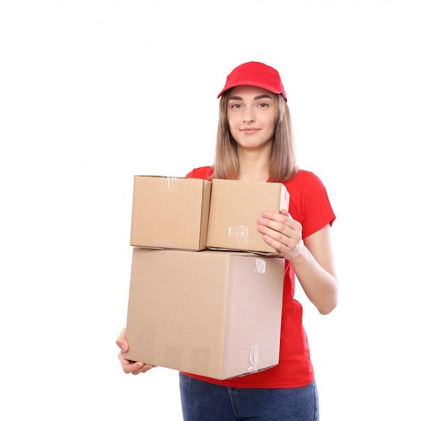 Kurier z pudełkami