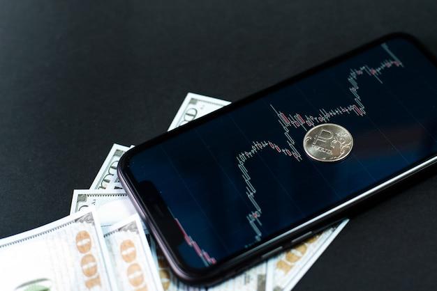 Kurs rubla do dolara na giełdach papierów wartościowych. wzrost rubla w stosunku do dolara. dewaluacja, zmienny kurs, monitorowanie zapasów i kursów walut