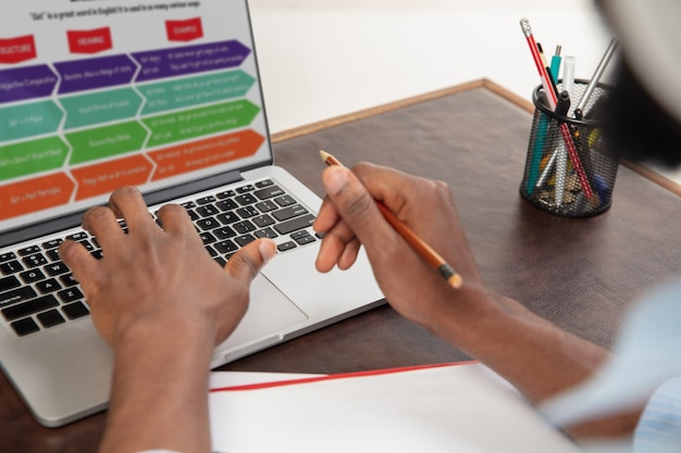 Kursy angielskiego online w domu. zbliżenie dłoni człowieka podczas zdalnego nauczania uczniów we wnętrzu