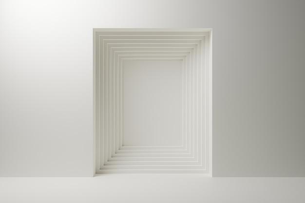 Kwadrat wielowarstwowy streszczenie na białym tle.