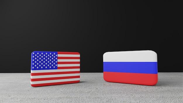 Kwadratowa flaga stanów zjednoczonych ameryki z kwadratową flagą rosji, renderowanie 3d
