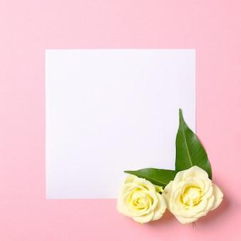 Kwadratowa pusta papierowa karta z białymi różami kwitnie na pastelowym różowym tle.