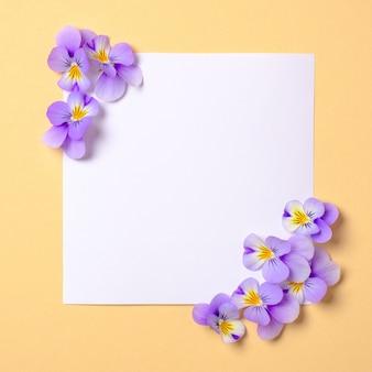Kwadratowa pusta papierowa karta z dzikimi fiołkowymi kwiatami na pastelowym żółtym tle. widok z góry, delikatna minimalistyczna, płaska kompozycja w stylu. koncepcja miłości i natury.