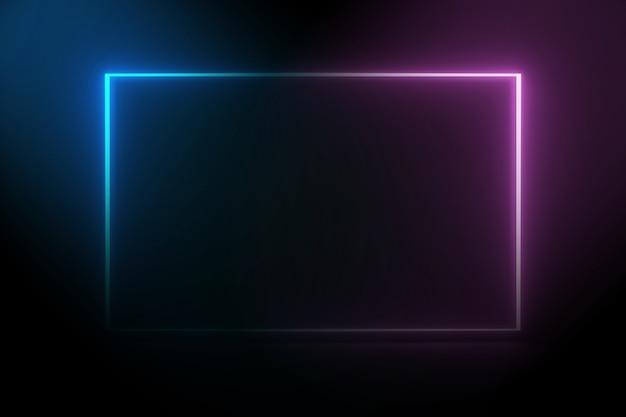 Kwadratowa rama ultrafioletowe światło neonowe na tle ciemnej nocy