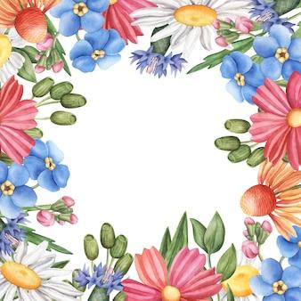 Kwadratowa ramka, rama wykonana z dzikich letnich kwiatów z pustą przestrzenią w środku