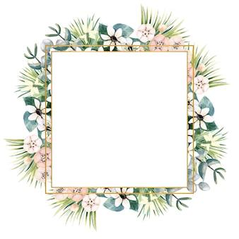 Kwadratowa złota ramka z małymi kwiatami aktynidii, bouvardii, liści tropikalnych i palm