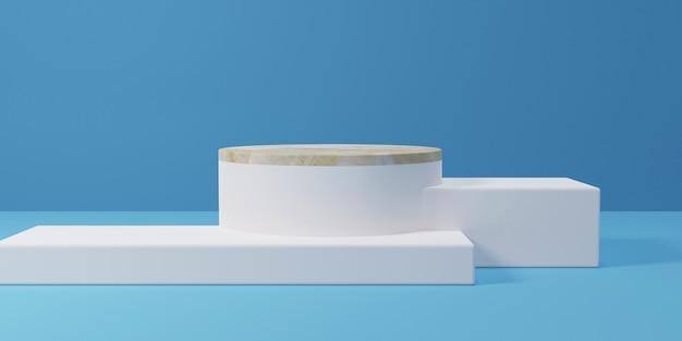 Kwadratowe i cylindryczne marmurowe podium na niebiesko, renderowanie 3d