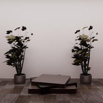 Kwadratowe podium z kilkoma miniaturowymi drzewami na podłodze, wykorzystując jako wizytówkę produktu lub cokół