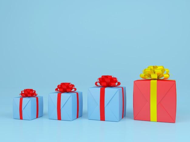 Kwadratowe pudełko i czerwoną wstążką niebieskie tło. renderowania 3d pastelowe koncepcji