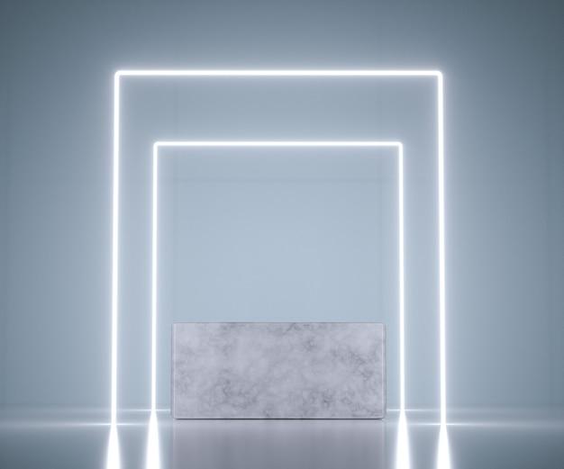 Kwadratowy kształt ekspozycji produktów z nowoczesnymi i eleganckimi koncepcjami. neonowe światło nad marmurowym cokołem. renderowania 3d