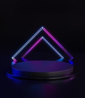 Kwadratowy neon light podium stage okrągły czarny ciemny wyświetlacz produkt renderowanie 3d