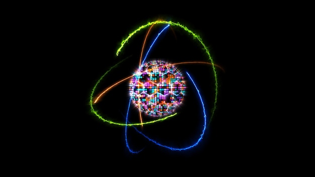 Kwantowa futurystyczna animacja komputerowa abstrakcyjna pastelowa tonacja kula świetlna kula i jasny kolor rdzenia z atomem poruszającym się w nieskończoności pomarańczowego ognia, zieleni i niebieskiej energii grzmotu