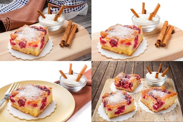 Kwaśne ciasto wiśniowe. plastry ciasta wiśniowego z cukrem i cynamonem. kolaż ustawionych zdjęć.