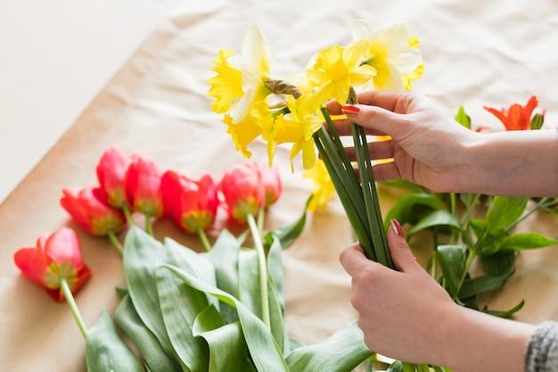 Kwiaciarnia. kobieta ręce układanie wiosennego bukietu kwiatów z asortymentu żółtych narcyzów i czerwonych tulipanów