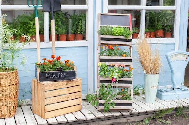 Kwiaciarnia wnętrze weranda dom z letnim wystrojem drewniany ganek domu z zielonymi roślinami