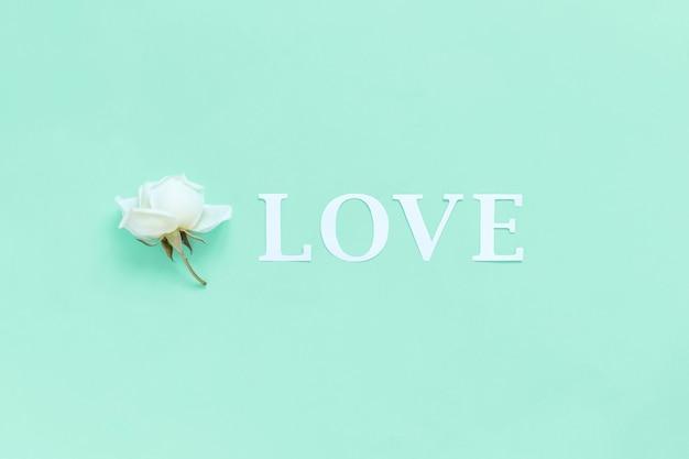 Kwiat i słowo miłość na jasnozielonym tle widok z góry