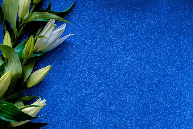 Kwiat lilii na białym tle na klasycznym niebieskim tle.