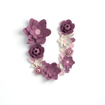 Kwiat papieru litera alfabetu u renderowania 3d