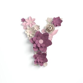 Kwiat papieru litera alfabetu y renderowania 3d