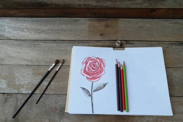 Kwiat róża bukiet przez kolor ołówka