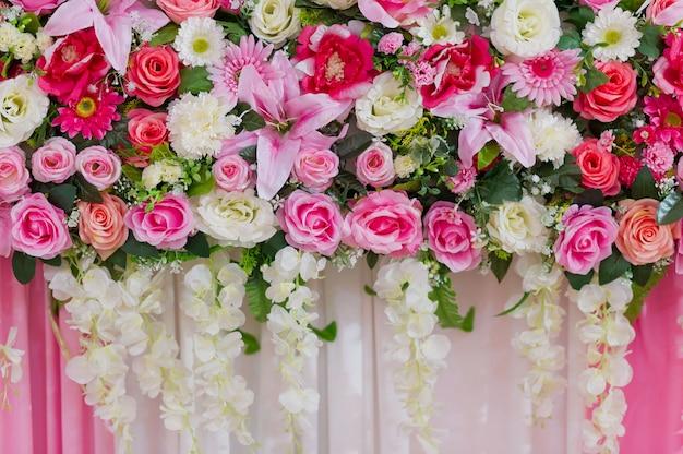 Kwiat tło, tło dekoracja ślubna, wzór róży, kolorowe tło, bukiet kwiatów