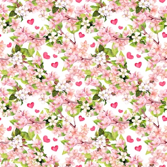 Kwiat wiśni, jabłko różowe kwiaty, serca. kwiatowy wzór powtarzalny na walentynki lub wesele. akwarela