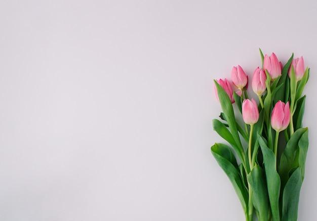Kwiatowa aranżacja z różowymi tulipanami na jasnym tle. minimalna koncepcja. skopiuj miejsce.