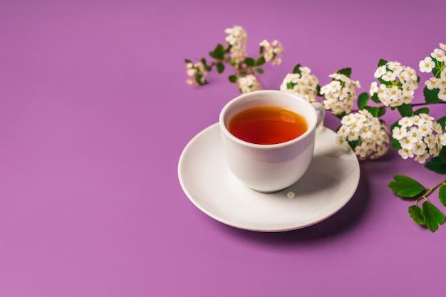 Kwiatowa kompozycja wiosenna i kubek herbaty na fioletowym tle widok z góry miejsca kopiowania