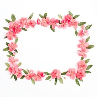 Kwiatowa ramka wykonana z różowych kwiatów hortensji, zielonych liści, gałęzi na białym tle